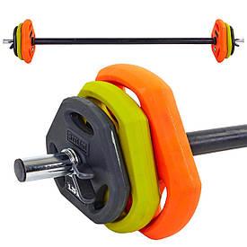 Крутая штанга для фитнеса (фитнес памп) Zelart  20кг (гриф l-1,3м, d-25мм, обрезин.блины 2x(1,25+2,5+5кг),