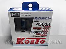 Комплект ламп (2шт) Koito WhiteBeam III H4 PREMIUM 4500K 12V 60/55W P0744W