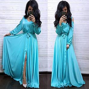 Розкішне шовкове плаття в підлогу з розрізом, фото 2