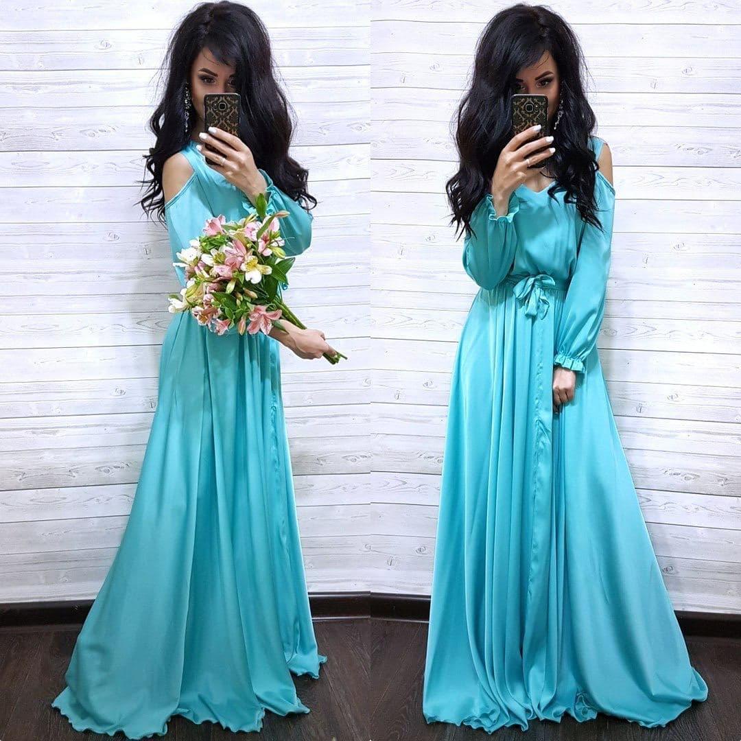 Шикарное шелковое платье в пол с разрезом