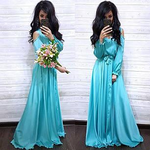 Шикарное шелковое платье в пол с разрезом, фото 2