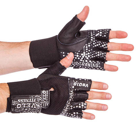 Перчатки для тяжелой атлетики кожаные VELO VL-3234 размер S-XL черный-белый, фото 2