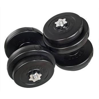 Гантели WCG 2х18 кг с металлическим грифом Черные (310.002.004), фото 2