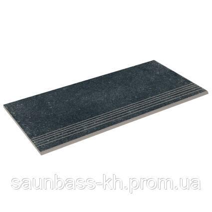 Бортова пряма плитка Aquaviva Granito Black, 595x289x20 мм