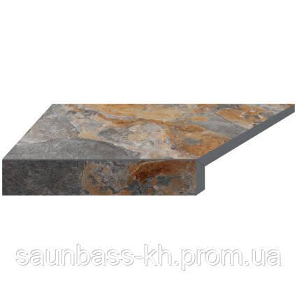 Угловой Г-образный элемент бортовой плитки Aquaviva Ardesia Loft, 595x345x50(20) мм (левый/45°)