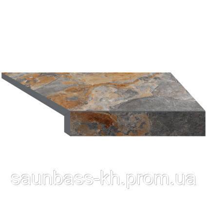 Угловой Г-образный элемент бортовой плитки Aquaviva Ardesia Loft, 595x345x50(20) мм (правый/45°)