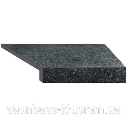 Кутовий елемент бортовий плитки Aquaviva Granito Black, Г-подібний, 595x345x50(20) права/45°