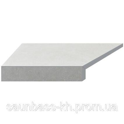 Угловой Г-образный элемент бортовой плитки Aquaviva Granito Light Gray, 595x345x50(20) мм (левый/45°)