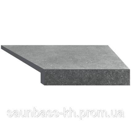 Кутовий елемент бортовий плитки Aquaviva Granito Gray, Г-подібний, 595x345x50(20) права/45°