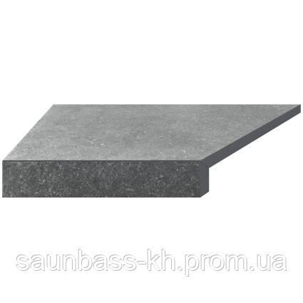 Угловой элемент бортовой плитки Aquaviva Granito Gray, Г-образный, 595x345x50(20) левая/45°