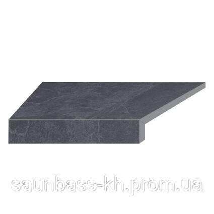 Угловой Г-образный элемент бортовой плитки Aquaviva Ardesia Black, 595x345x50(20) мм (левый/45°)