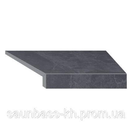 Угловой Г-образный элемент бортовой плитки Aquaviva Ardesia Black, 595x345x50(20) мм (правый/45°)