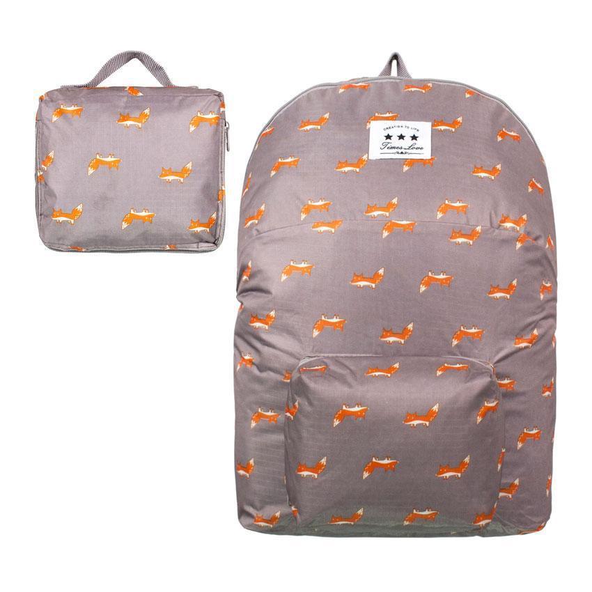 Рюкзак городской складной ANM Foxes Темно-серый с розовым (21416)
