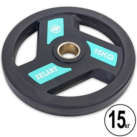 Блины (диски) полиуретановые с хватом и металлической втулкой d-51мм Zelart TA-5344-15 15кг (черный), фото 2