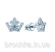 Срібні сережки пусети корона з гвинтовою застібкою Україна