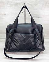 Женская черная деловая сумка саквояж классическая с двойными ручками на плечо 63204, фото 1