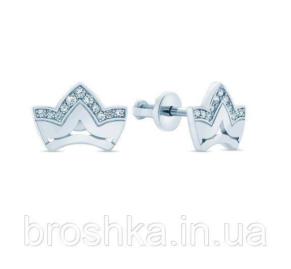 Серебряные серьги в виде короны