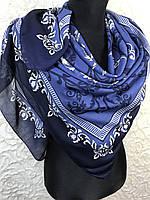 Шикарный женский платок большого размера в синем цвете - купить на Kosinka.net