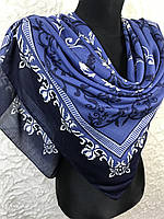 Шикарный женский платок большого размера в синем цвете, фото 1