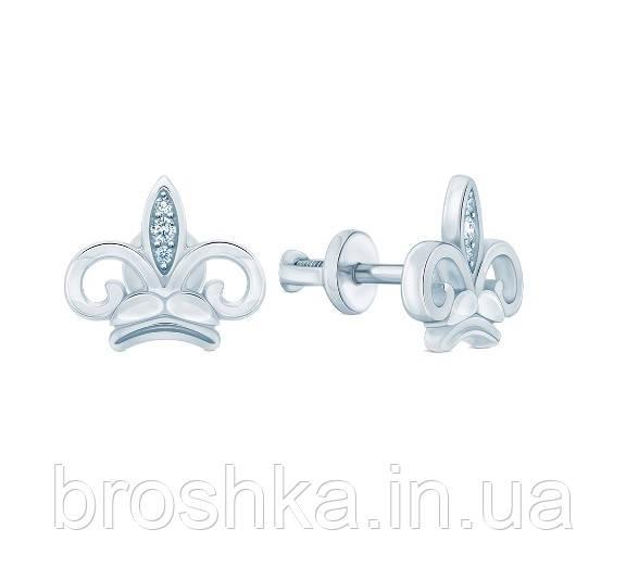 Серьги корона серебро с родиевым покрытием