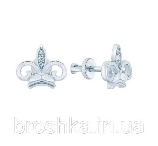 Серьги корона серебро с родиевым покрытием, фото 2