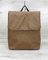 Коричневая женская сумка-рюкзак трансформер текстильная через плечо из нейлона 44021, фото 1