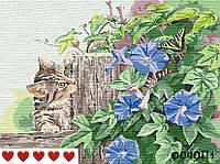 Картина по номерам (рисование по цифрам, живопись) 0040П1 (Кот в цветах)