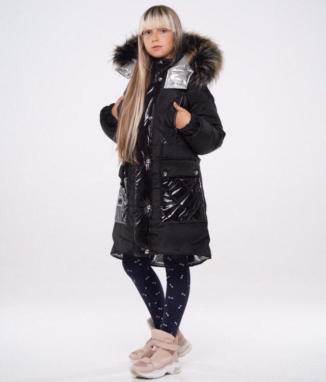 Зимняя удлиненная куртка для девочки Чёрный  р. 140