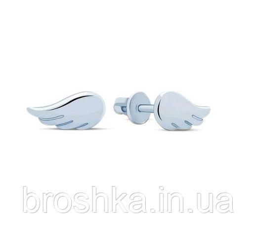 Маленькие серебряные серьги пусеты крылья, фото 2