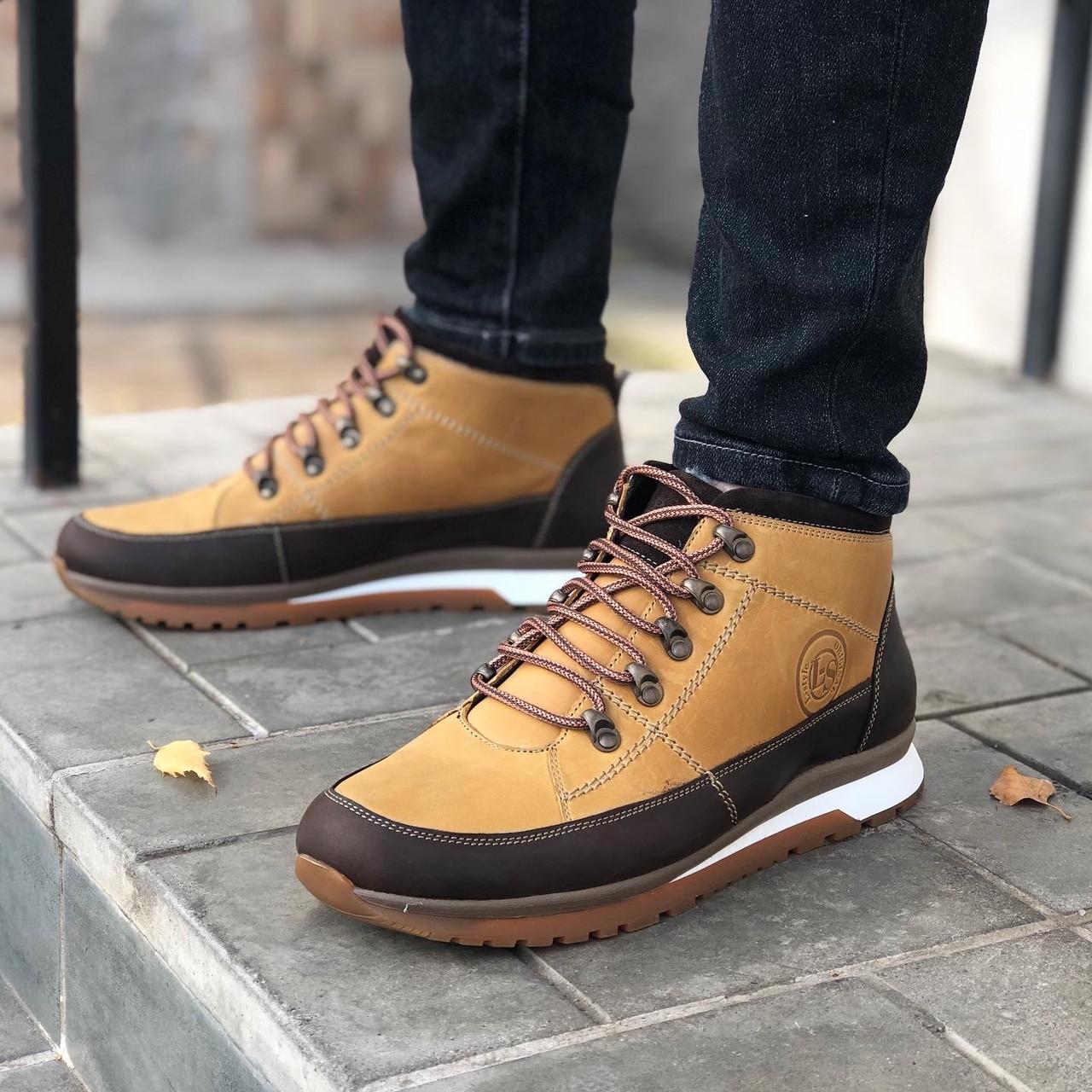 Кожаные мужские кроссовки зима L-Style 3590 ж/кор размеры 41,42,43