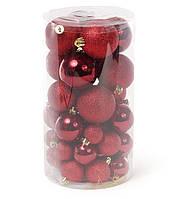 Елочные новогодние шары из пластика, набор 40 шт, микс размеров и фактур