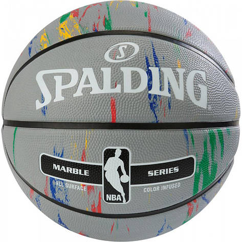 Мяч баскетбольный Spalding NBA Marble Outdoor Grey/Multi-Color Size 7, фото 2
