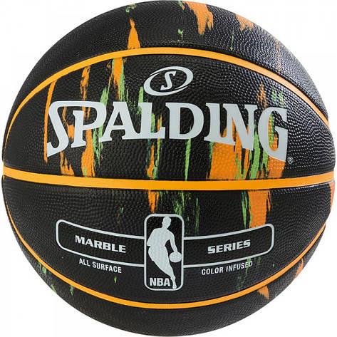 Мяч баскетбольный Spalding NBA Marble Outdoor Black/Orange/Green Size 7, фото 2