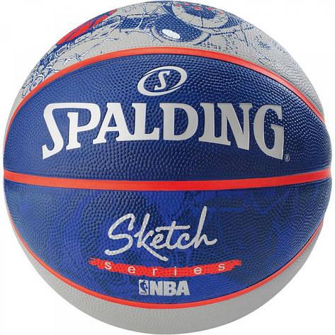 Мяч баскетбольный Spalding NBA Sketch Robot Outdoor Size 7, фото 2