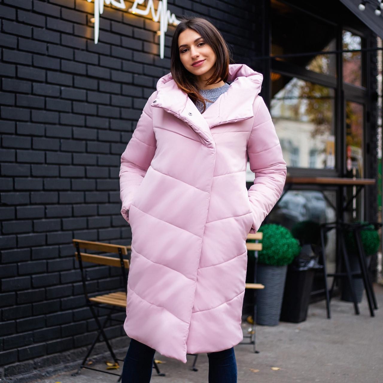 """Стильное женское зимнее пальто-одеяло """"Ми-ми-ми"""" с капюшоном цвет пудра (нежно розовое)"""