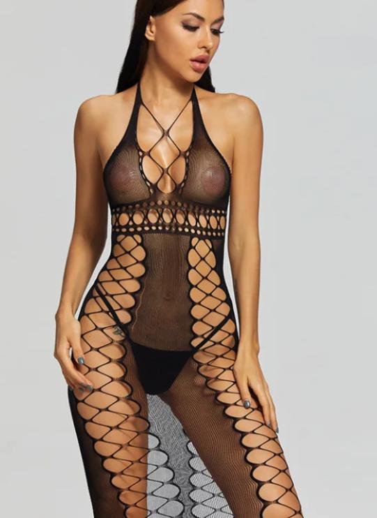 Сексуальное платье из мелкой сетки