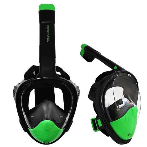 Маска для снорклинга (плавания) SportVida SV-DN0023 Size L/XL Black/Green, фото 2