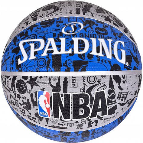 Мяч баскетбольный Spalding NBA Graffiti Outdoor Grey/Blue Size 7, фото 2
