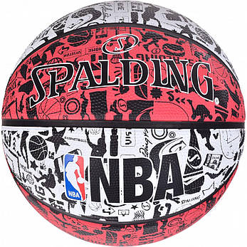 Мяч баскетбольный Spalding NBA Graffiti Outdoor White/Red Size 7, фото 2