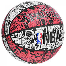 Мяч баскетбольный Spalding NBA Graffiti Outdoor White/Red Size 7, фото 3