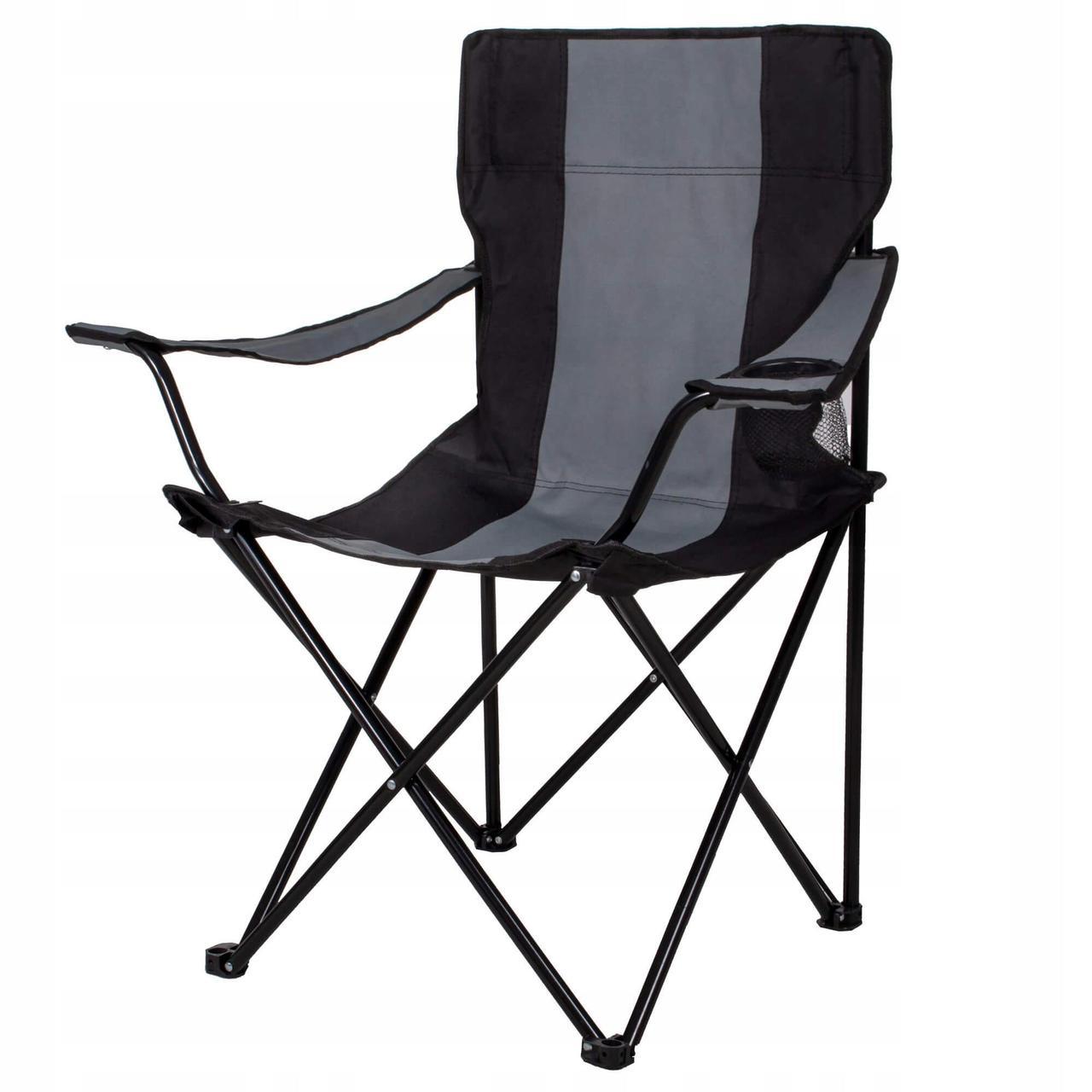 Кресло складное для кемпинга и рыбалки черно-серый  Springos