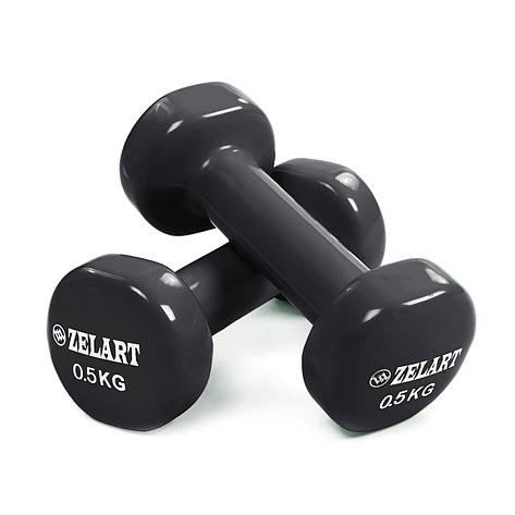 Гантели для фитнеса с виниловым покрытием Zelart Beauty TA-5225-0,5 (2x0,5кг) (2шт, цвета в ассортименте), фото 2