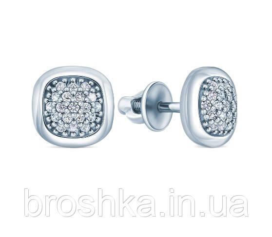 Серебряные серьги квадрат с родиевым покрытием и винтовой застежкой
