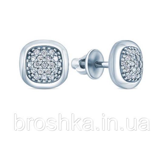 Серебряные серьги квадрат с родиевым покрытием и винтовой застежкой, фото 2