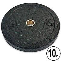 Бамперные диски для кроссфита Bumper Plates из структурной резины d-51мм Record RAGGY TA-5126-10 10кг