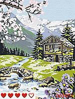 Картина по номерам (рисование по цифрам, живопись) 0036П1 (Домик в горах)