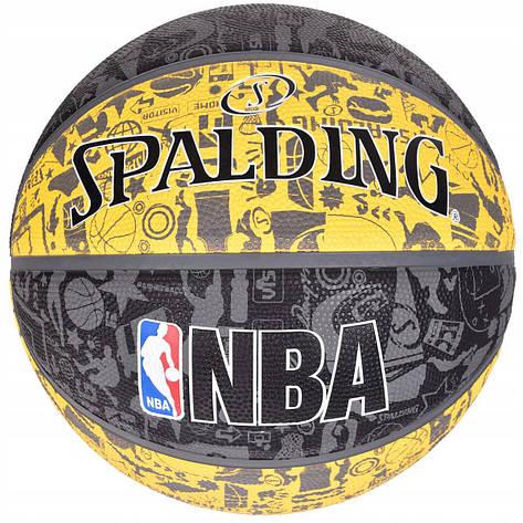 Мяч баскетбольный Spalding NBA Graffiti Outdoor Grey/Yellow Size 7, фото 2