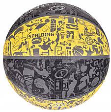 Мяч баскетбольный Spalding NBA Graffiti Outdoor Grey/Yellow Size 7, фото 3