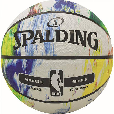 Мяч баскетбольный Spalding NBA Marble Black White Outdoor Size 7, фото 2