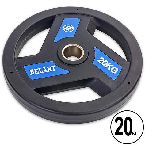 Блины (диски) полиуретановые с хватом и металлической втулкой d-51мм Zelart TA-5344-20 20кг (черный), фото 2